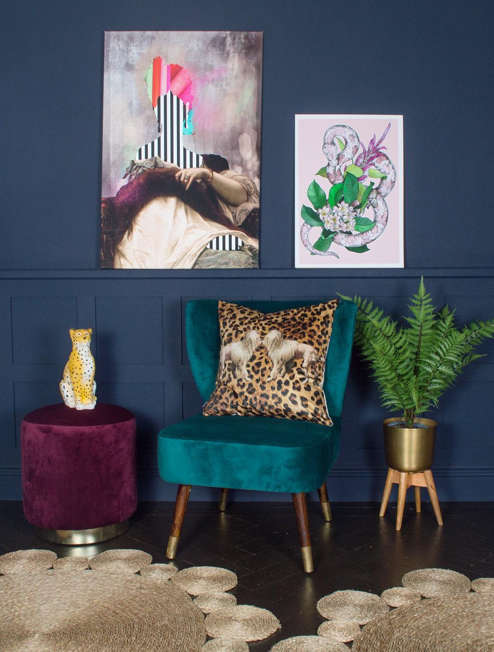 Audenza- Emilia Velvet Stool £129.95. Harrington Teal Velvet Chair £368. Princess Leopold Canvas Print £195. Snakes of Creation Print £35..jpg
