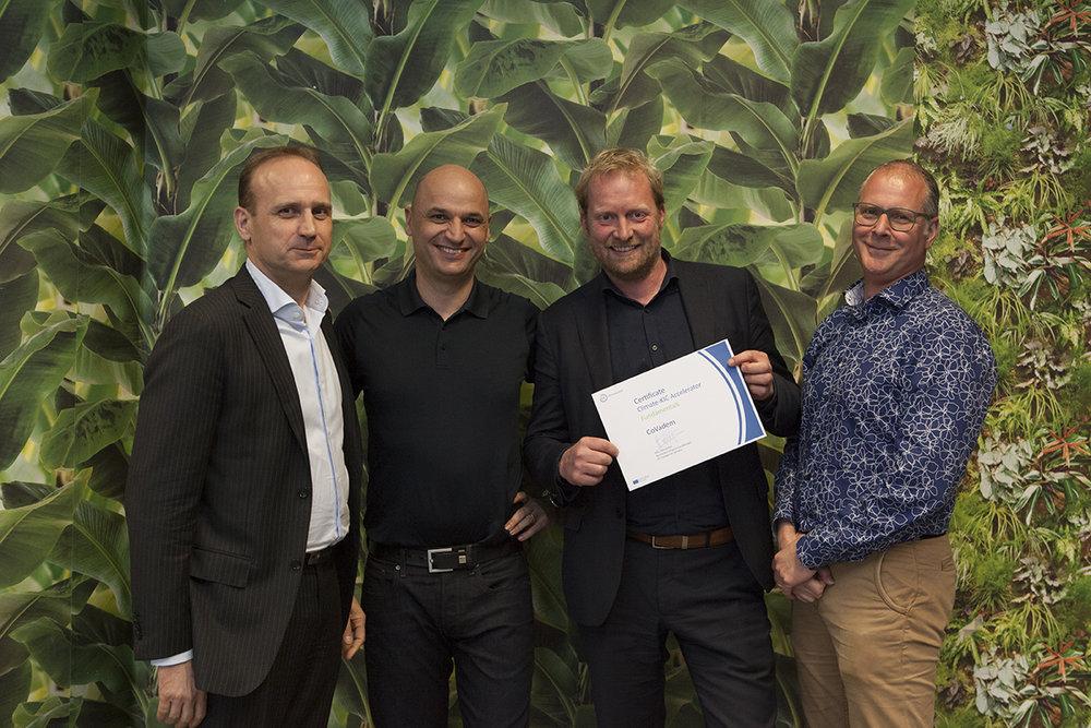 CoVadem Team (v.l.n.r: Henk van Laar, Hans Westerhof (Climate KIC), Meeuwis van Wirdum, Desiré Savelkoul)