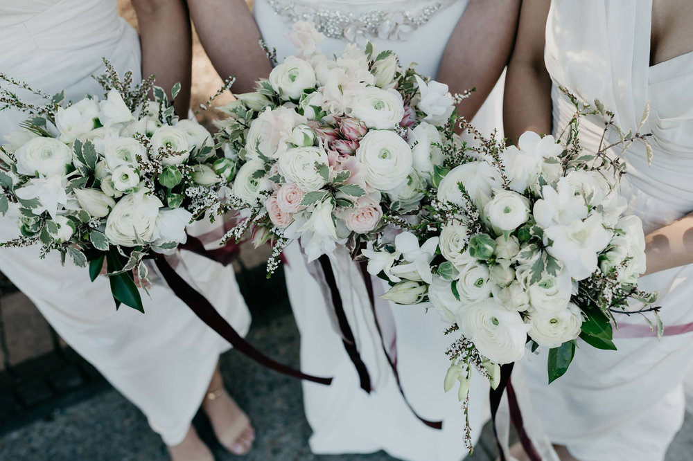 Wedding details - CEREMONY LOCATION: Auburn Botanical GardensFLOWER CONCEPT: Semi-structured, soft, feminine blooms in white and blush tones to complement this beautiful Spring wedding.PHOTOGRAPHER: Jason Corroto