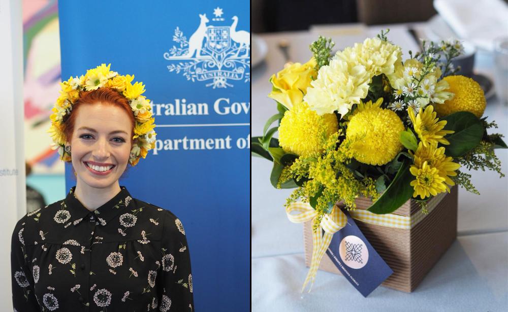 Endometriosis Australia event with yellow Wiggle Emma Watkins