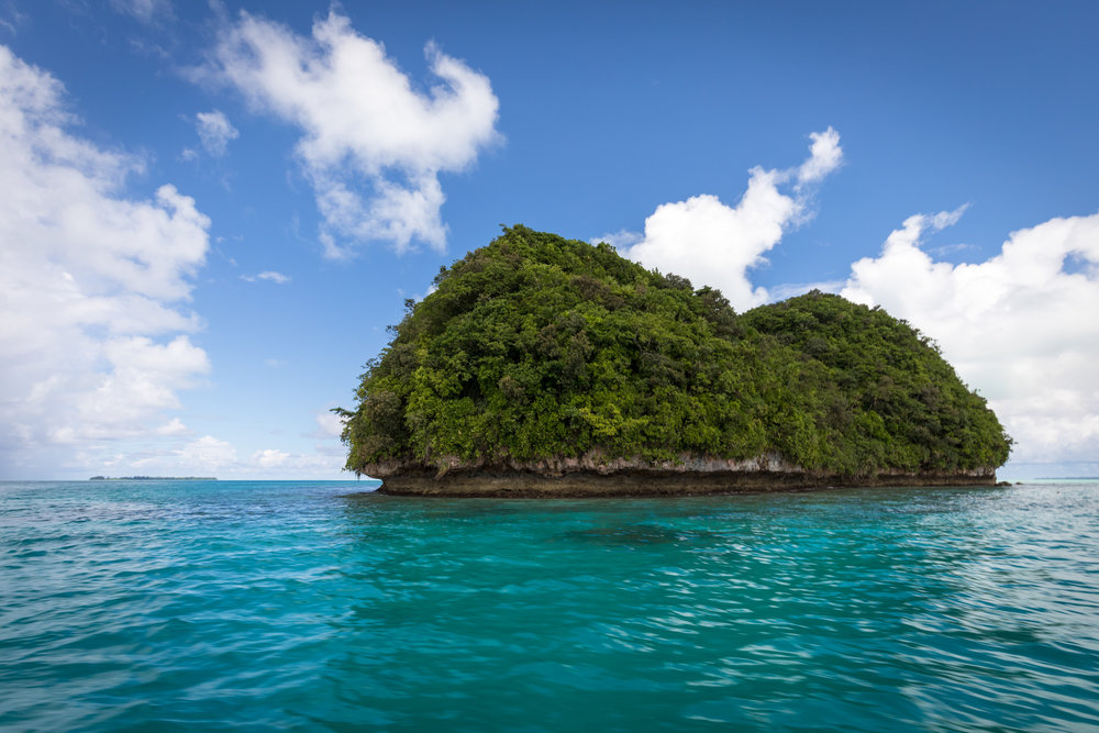 A partly cloudy day for Palau's iconic Rock Islands.