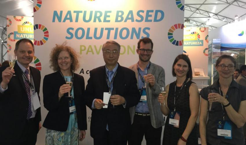 Photo: Mark Smith (IUCN), Andrea Erickson (TNC), Zhang Xinsheng (IUCN President), Chris Baker (Wetlands International), Sarah Davidson (WWF), and Robin Abell (CI) bring out a toast on the opening of the Nature-Based Solutions Pavilion at the 8th World Water Forum in Brasilia,19 March 2018
