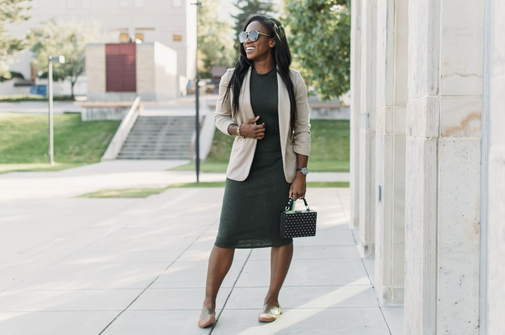 Business Casual Green Dress