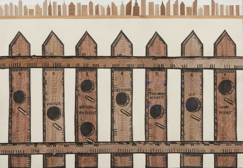 Untitled, 2011. Wood tiles, acrylic and ink on paper. 21 3/4 x 31 in.