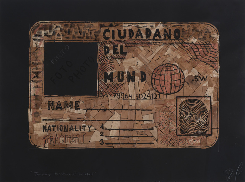 Temporary Residency of the World, 2011. Wood tiles and acrylic on paper. 22 1/2 x 30 in.