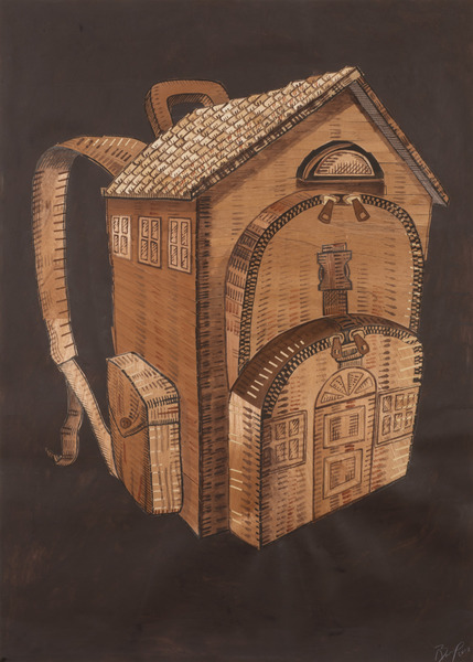 Casa-Mochila (House-Backpack), 2012. Wood tiles and acrylic on paper. 39 1/2 x 27 1/2 in.