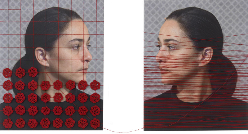 Alternativa (Alternative), 2013-2014. Digital print on canvas with embroidery applique and sewn thread Two panels of 19 3/4 x 15 3/4 in. each.