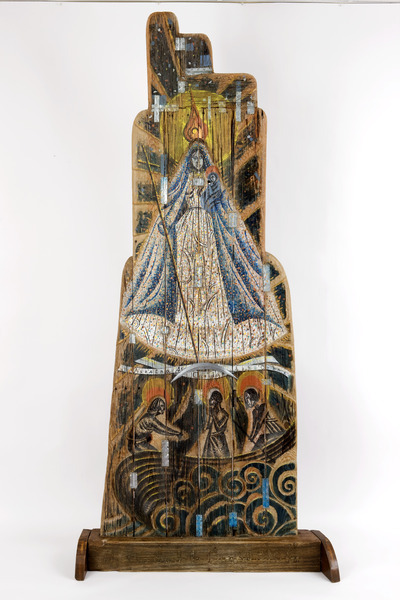 Caridad (Charity), 2007. Polychrome wood, metal, glass and fabric. 91 1/2 x 44 x 13 in.