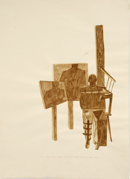 En Cayo Hueso, Estado de la Florida, 1894 (In Key West, Florida State, 1894), 1991. Cow blood and pencil on paper. 27 1/2 x 19 1/2 in.