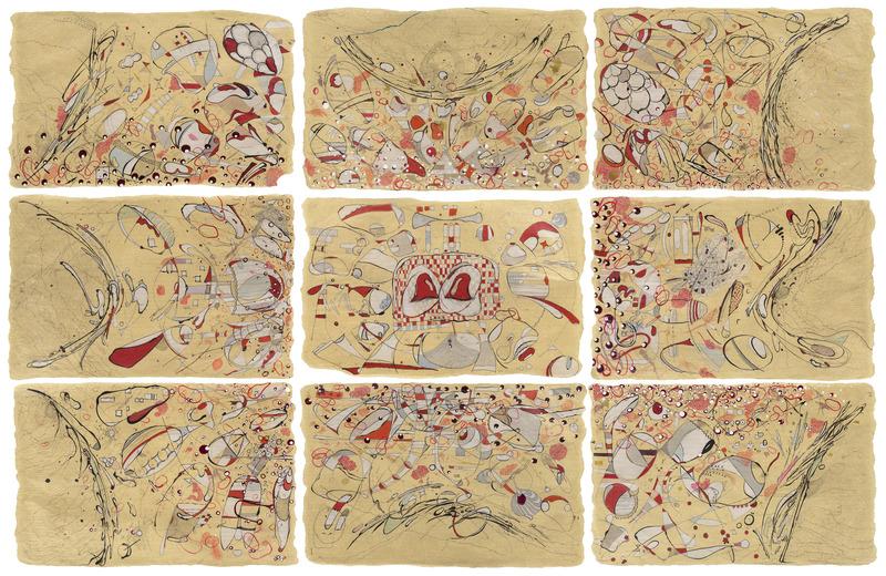 Metamorfosis (Metamorphosis),2014.Crayon, pencil, India ink, metallic ink, liquid watercolor, polyester polyamide and enamel on Japanese paper. Nine panels of 24 x 26 in. each.