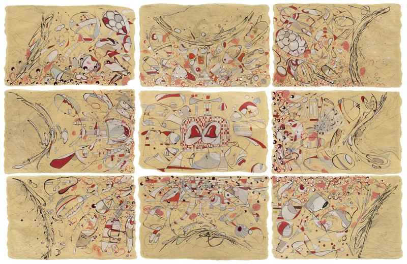 Metamorfosis(Metamorphosis),2014.Crayon, pencil, India ink, metallic ink, liquid watercolor, polyester polyamide and enamel on Japanese paper. Nine panels of 24 x 26 in. each.
