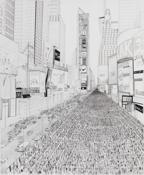 One of a Kind (Times Square), 2014. Ink and pencil on paper, 57 x 50 1/4 in.