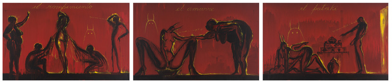 José Bedia, El rompimiento, El amarre, El patakí (The Breaking, The Tying, The Legend), 2013. Acrylic on canvas, three panels of 29 1/2 x 47 3/4 in. each.