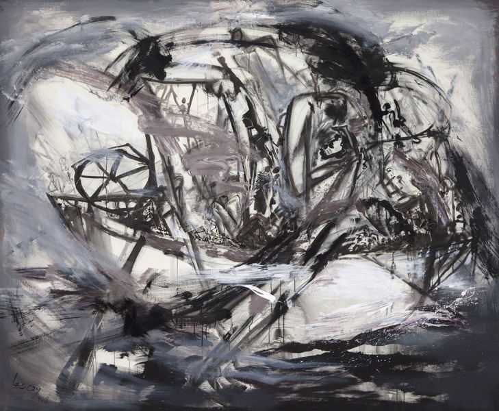 Alberto Lescay, De la serie Ngangá (From the series Nganga), 2010. Acrylic, latex and charcoal on canvas, 76 x 92 in.