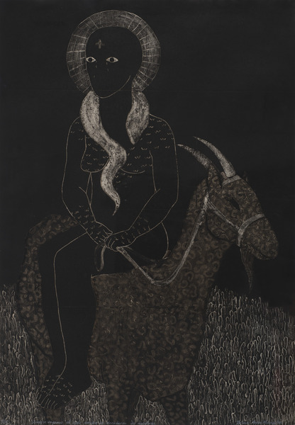 Belkis Ayón, Aunque vayamos al cielo, siempre se acordarán de nosotros (Although We Go to Heaven, They Will Always Remember Us), 1990. Collagraph, 39 x 27 1/4 in. Ed. 3/4.