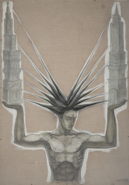 Esterio Segura, Las ciudades de otros (Cities of Others), 2002. Charcoal, pencil, watercolor and acrylic on linen, 85 x 61 in.
