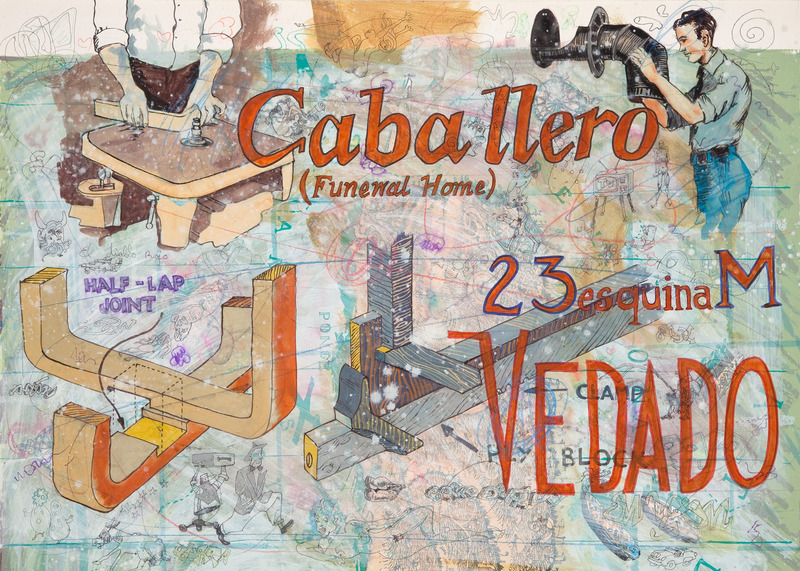 "Douglas Pérez, Vedado 161, from the series ""Vedado ST"", 2008. Tempera, ink, and pencil on paper, 25 x 32 1/2 in."