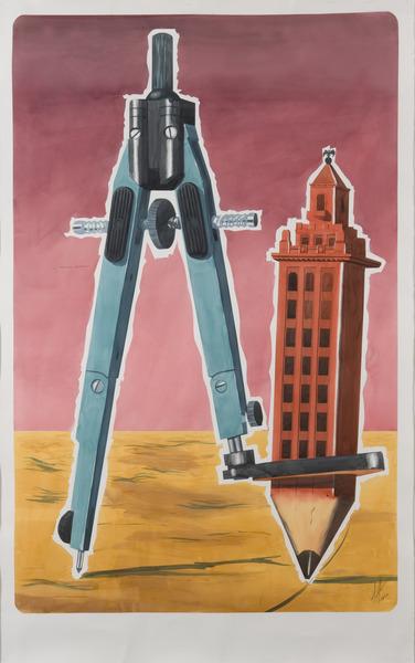Alexandre Arrechea, Dreaming Havana, 2010. Watercolor on paper, 87 x 56 in.