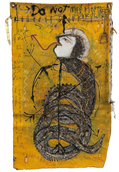 Clara Morera, Sarabanda. En el año de la serpiente (Sarabanda. The Year of the Snake), 2011. Oil on canvas, cord, metal embellishment, 56 1/2 x 36 in.