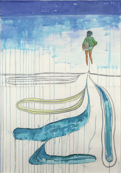 María Magdalena Campos-Pons, Thinking of It, 2008. Watercolor, gouache, ink and pencil on paper, 61 7/8 x 44 1/8 in.