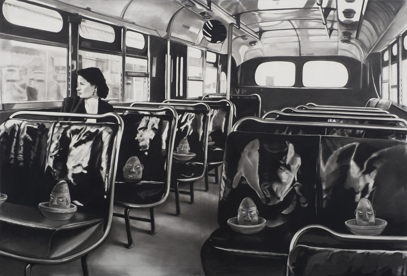 Frank Martínez, Sin capacidad (No Vacancy), 2012. Charcoal on canvas, 53 3/4 x 78 1/2 in.