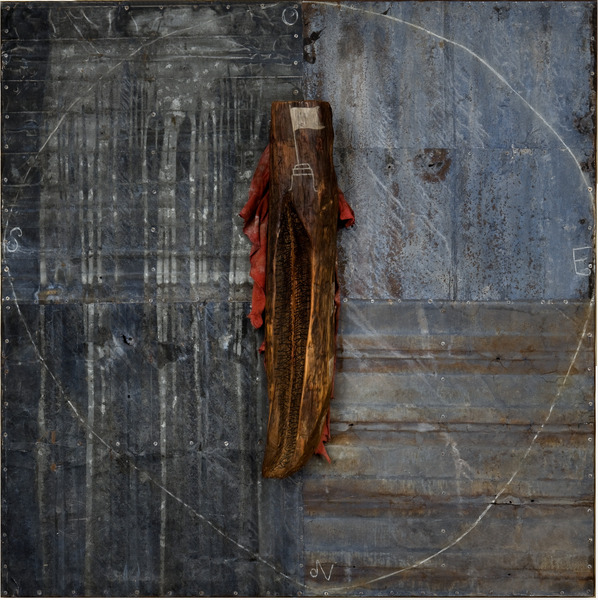 Alejandro Aguilera, Restos mortales (Remains), 1994. Polychrome wood, metal, paint and fabric, 51 x 51 x 10 in.