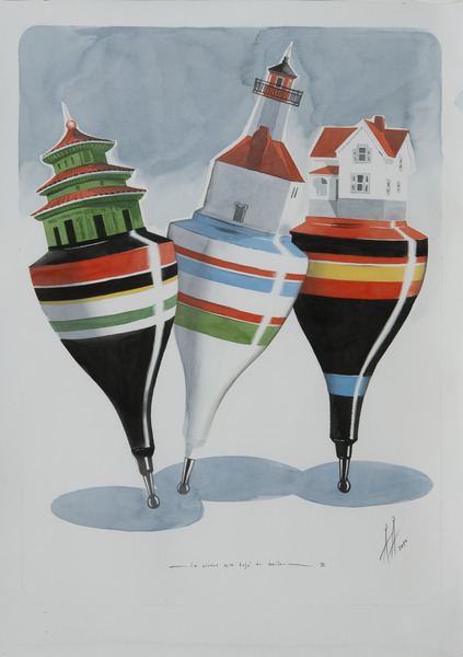 Alexandre Arrechea, La ciudad que dejó de bailar 2 (The City that Stopped Dancing 2), 2010. Watercolor on paper, 31 1/2 x 22 1/2 in.