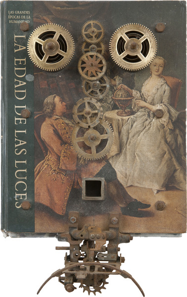 Eduardo Ponjuán, La Edad de las Luces (Age of Enlightenment), 1997. Object (Book, metal pieces and screws), 14 x 8 3/4 x 4 1/2 in.