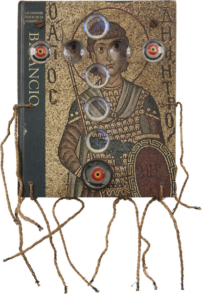 Eduardo Ponjuán,Bizancio (Byzantium), 1998. Object (Book, found objects, rope, threads and screws), 17 x 9 1/2 x 5 1/2 in.