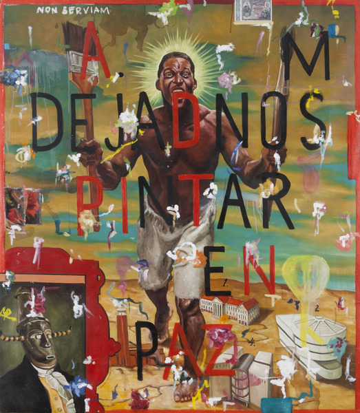 Armando Mariño, Dejadnos pintar en paz (Let Us Paint in Peace), 2001. Oil on canvas, 77 1/4 x 67 x 1 in.