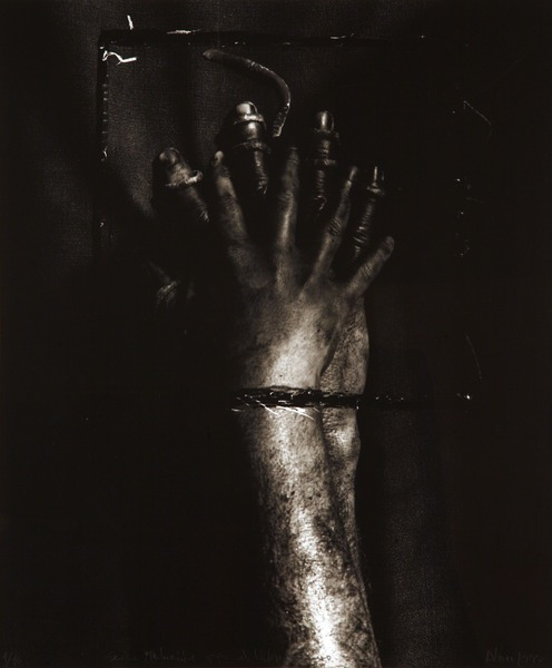 Juan Carlos Alom, the Dark Book), 1995. Gelatin silver print, 17 3/4 x 14 3/4 in. Ed. 1/10.