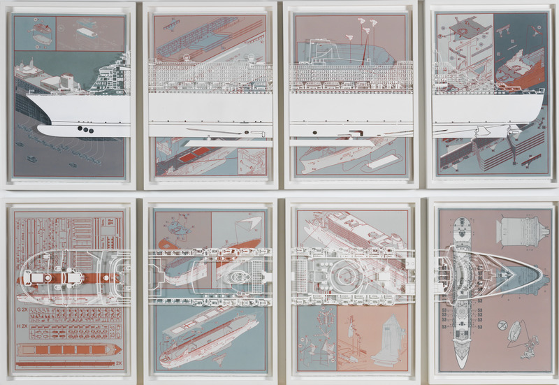 El caos del Nuevo Orden (The Chaos of the New Order), 2014. Silkscreen on paper and industrial paint on glass in wood frame, Eight panels of 26 3/4 x 22 1/16 in. each.