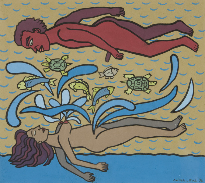 Amantes (Lovers), 1996. Acrylic on paper, 10 1/2 x 9 1/2 in.