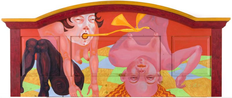 Dulces sueños (Sweet Dreams), 2000. Acrylic on wooden headboard, 28 1/2 x 67 in.