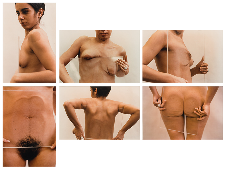 Untitled (Glass on Body Imprints), 1972. Estate printed color photographs (1997). Two panels of 20 x 16 in. each, four panels of 16 x 20 in. each, Ed. 7/10.