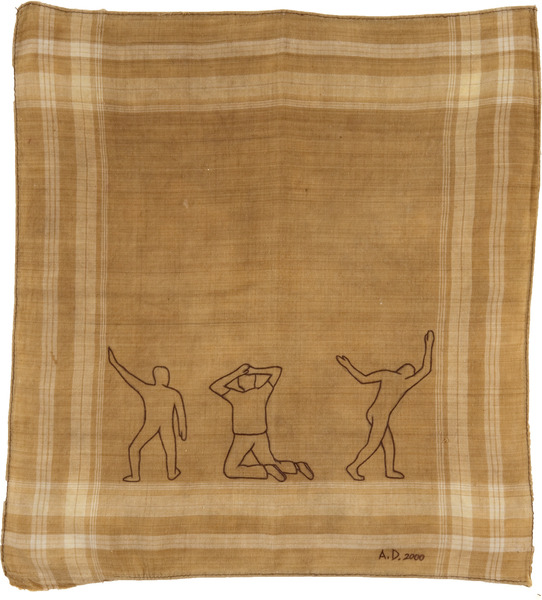 Sin título, de la serie Pañuelos (Untitled, from the series Handkerchiefs), 2000. Ink on fabric handkerchief, 14 x 15 in.