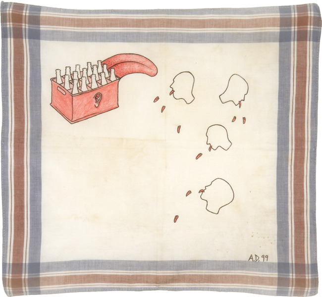 Sin título, de la serie Pañuelos (Untitled, from the series Handkerchiefs), 2000. Colored pencil and cold cream on fabric handkerchief, 15 x 14 in.