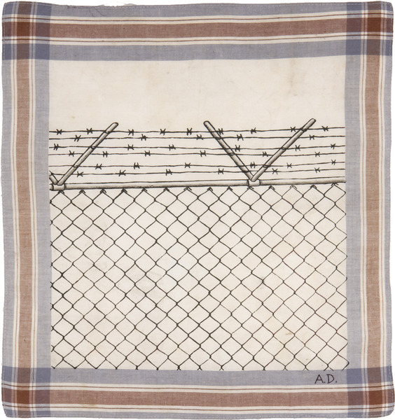 Sin título, de la serie Pañuelos (Untitled, from the series Handkerchiefs), 1999. Colored pencil and cold cream on fabric handkerchief, 17 1/2 x 18 1/2 in.
