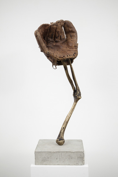 Esperando que caigan las cosas del cielo, o Deporte Nacional, 2012. Bronze, concrete, and baseball glove, 27 1/2 x 12 x 10 in. No. 6 of 35 parts in the original installation