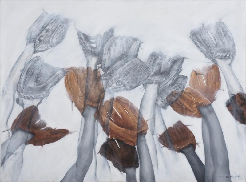 Sin título, de la serie Esperando que caigan las cosas del cielo, o Deporte Nacional, 2012. Oil and charcoal on paper, 55 x 75 in.