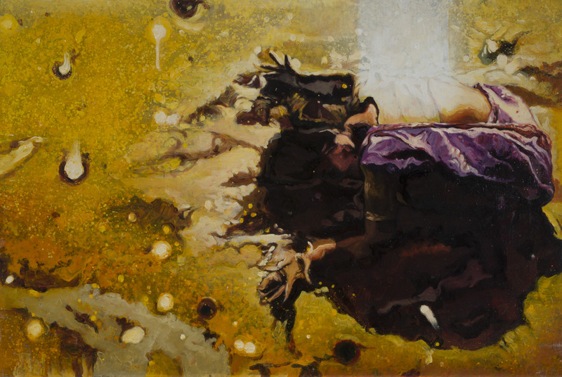 Prayer, 2007. Oil and mixed media on canvas, 19 1/4 x 29 in.