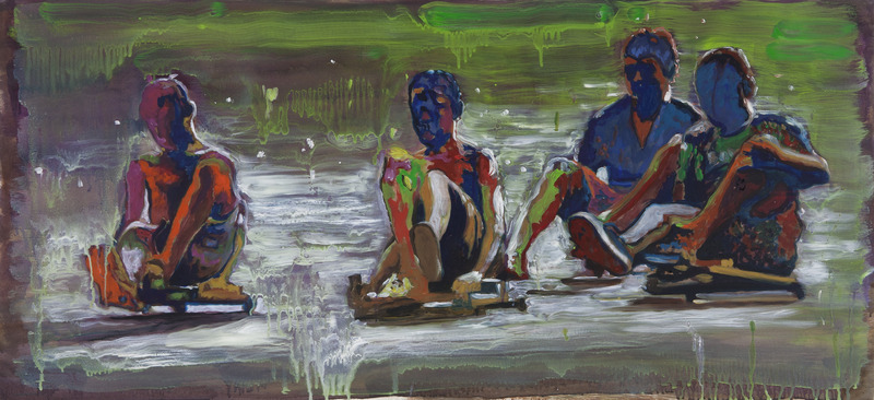 Riders, 2012. Oil on paper, 20 1/2 x 44 in.
