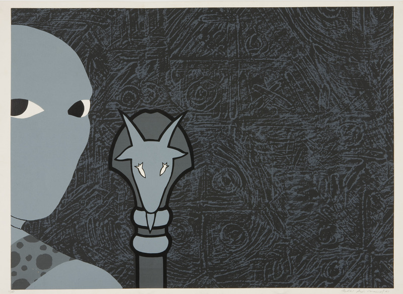 Sin Título (Sikán con bastón) (Untitled (Sikan with Scepter)), 1991. Silk-screen print 20 x 28 in. Ed. 3/100.