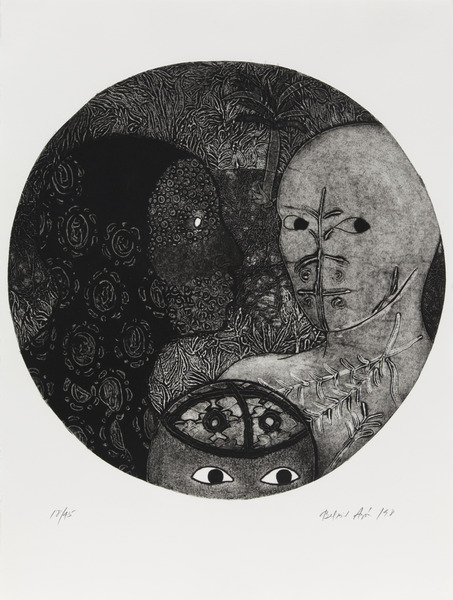 Sin título, del portafolio Contemporary Prints from Cuba, 1998. Collagraph printed intaglio on etching press with one color, one hand applied white on Rives BFK. 30 x 22 in. Ed. 18/45.