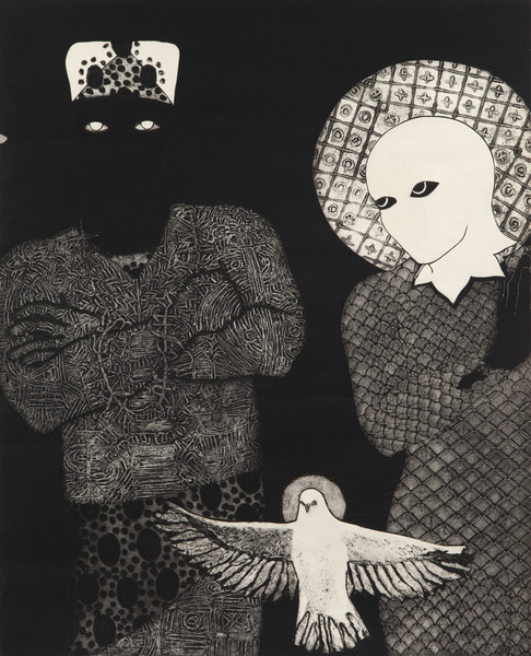 Sin título (Sikán, Nasakó y Espíritu Santo) (Untitled (Sikan, Nasako and Holy Ghost)), 1993. Collagraph 34 1/2 x 28 in.
