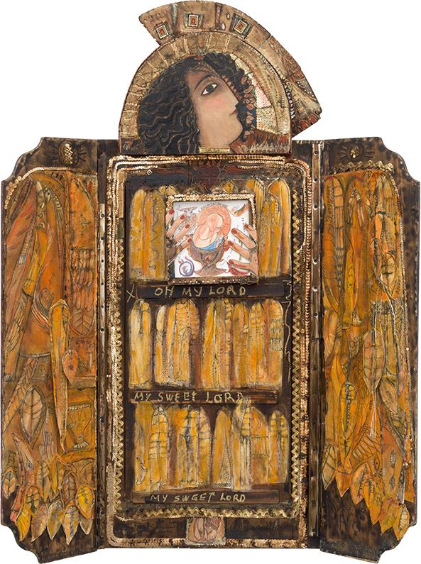 El ángel de la anunciación (The Angel of the Annunciation), 2006. Mixed media on canvas and wood, 48 1/2 x 22 1/4 x 11 in.