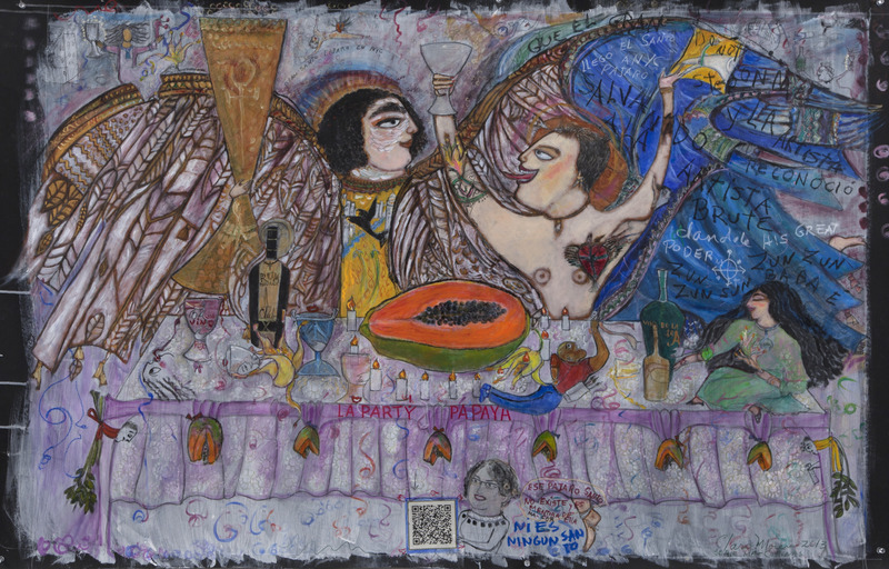 La Party Papaya, de la serie Ma-Corinas (The Party Papaya, from the series Ma-Corinas), 2013. Mixed media on paper, 34 3/4 x 54 3/8 in.
