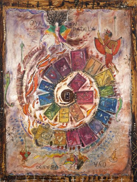La Batalla de Oyá (Oya's Battle), n.d. Mixed media on canvas, 40 1/2 x 30 in.