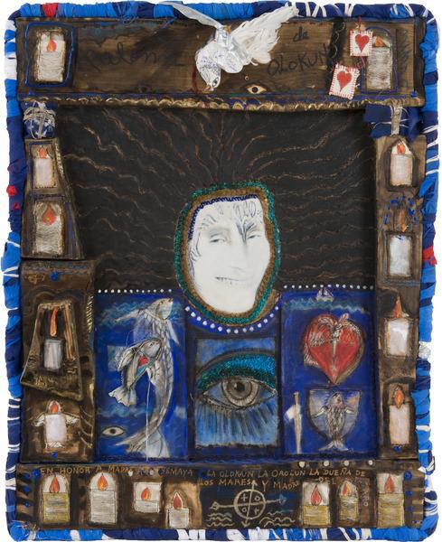 Autorretrato (Self-Portrait), 2010. Mixed media on wood, 30 x 24 in.