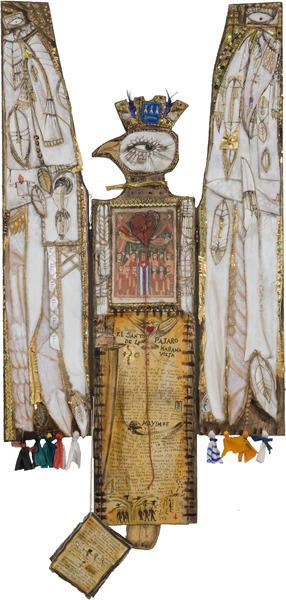 El Santo Pájaro (The Holy Bird), 2010. Mixed media on wood, 58 x 30 in.